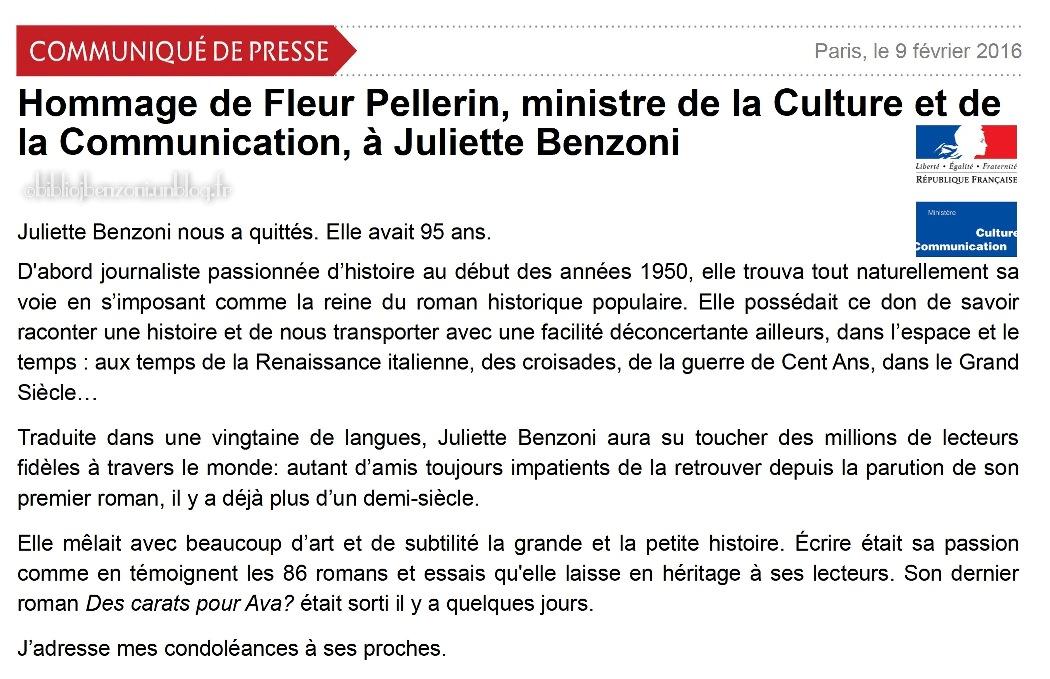 Communiqué_Ministere de la Culture
