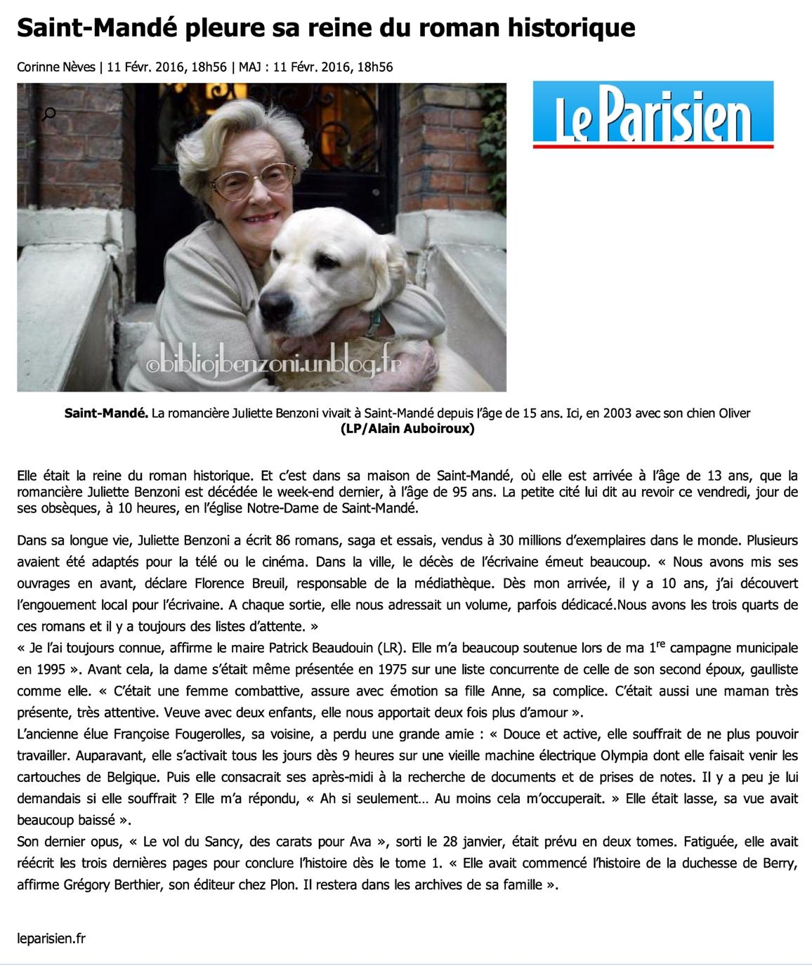 Saint-Mandé pleure sa reine du roman historique
